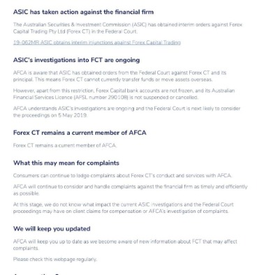 Retail Fx Broker Forexct Has Asic License Cancelled